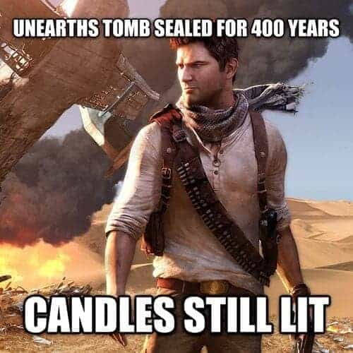 Lit Torches in Ancient Tombs - video game logic