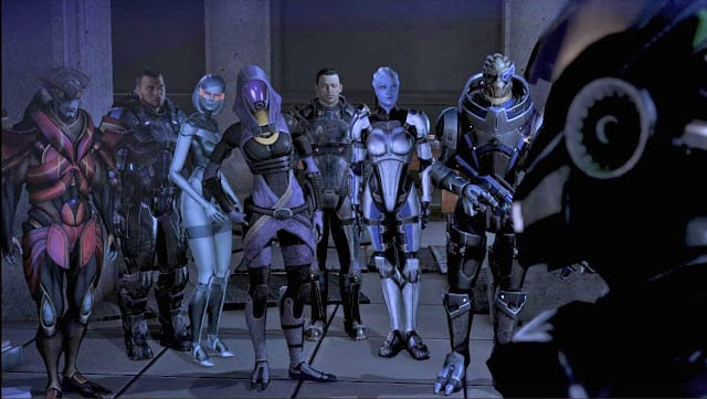 Party Members doing nothing - Mass Effect, video game logic