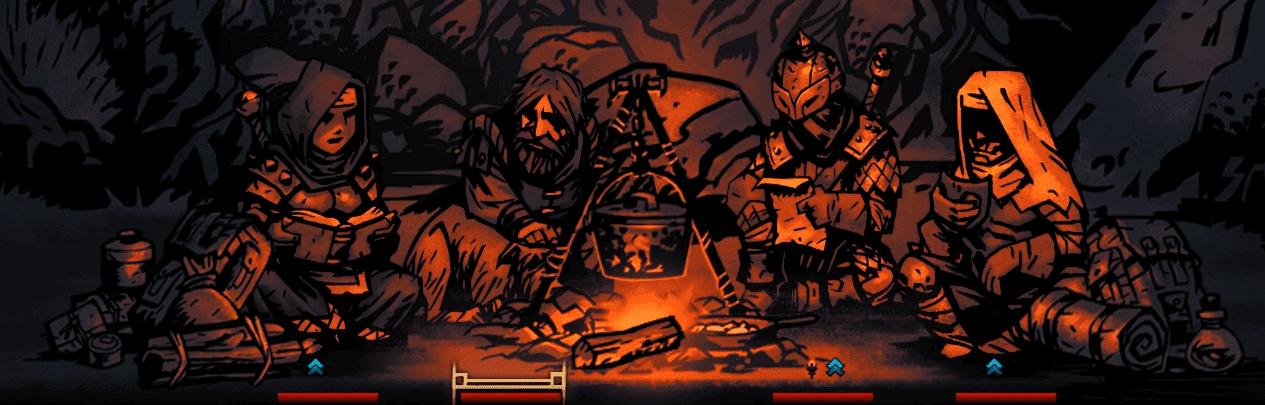 Darkest Dungeon houndmaster - team sitting next to campfire