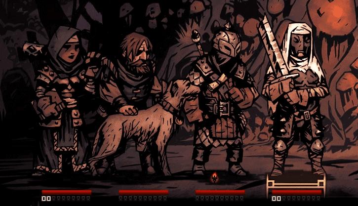 Darkest Dungeon Houndmaster in combat with team