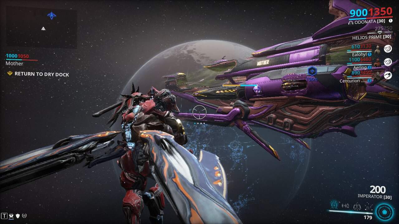 Archwing looks at the Railjack over Pluto