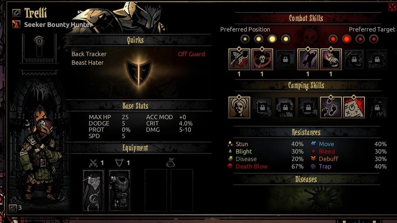 Darkest Dungeon Bounty Hunter Stats